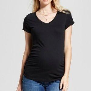 Maternity Shirred V-Neck T-Shirt